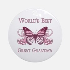 World's Best Great Grandma (Butterfly) Ornament (R