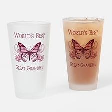 World's Best Great Grandma (Butterfly) Drinking Gl