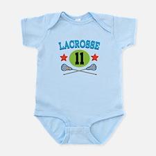 Lacrosse Player Number 11 Infant Bodysuit