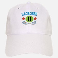 Lacrosse Player Number 11 Baseball Baseball Cap
