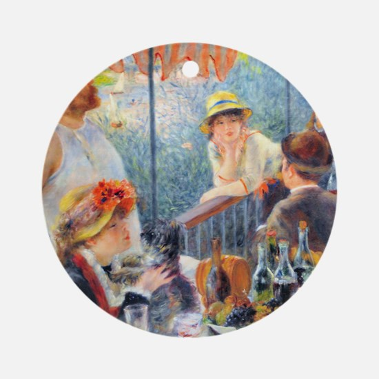 Renoir Boating Pillow Round Ornament