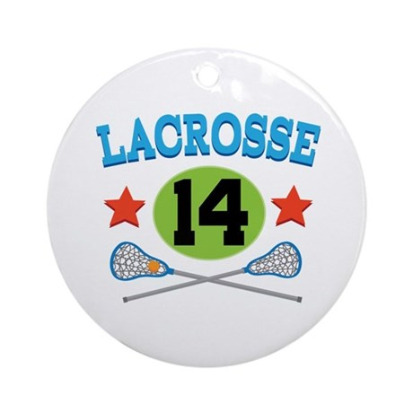 Lacrosse Player Number 14 Ornament (Round)