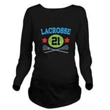 Lacrosse Player Number 21 Long Sleeve Maternity T-