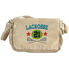 Lacrosse Player Number 21 Messenger Bag
