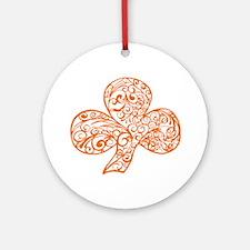 Orange Shamrock Curl Design Round Ornament