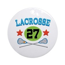 Lacrosse Player Number 27 Ornament (Round)