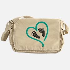 Baby feet heart blue Messenger Bag