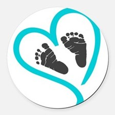 Baby feet heart blue Round Car Magnet