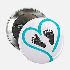 """Baby feet heart blue 2.25"""" Button"""