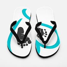 Baby feet heart blue Flip Flops