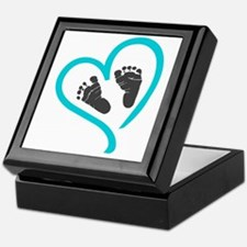 Baby feet heart blue Keepsake Box