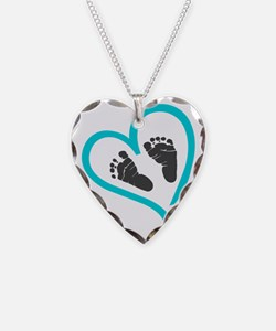 Baby feet heart blue Necklace Heart Charm