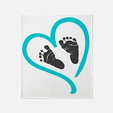 Baby feet heart blue Throw Blanket