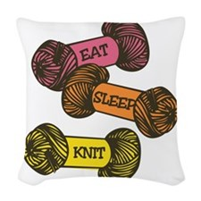 Eat Sleep Knit Woven Throw Pillow