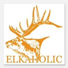 "Elkaholic w Square Car Magnet 3"" x 3"""