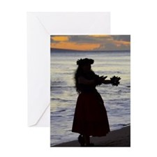 Hula Dancer at sunset Greeting Card