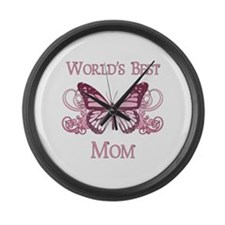 World's Best Mom (Butterfly) Large Wall Clock