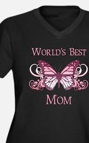World's Best Mom (Butterfly) Women's Plus Size V-N