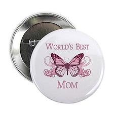 "World's Best Mom (Butterfly) 2.25"" Button"