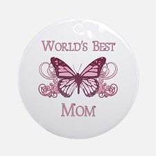 World's Best Mom (Butterfly) Ornament (Round)