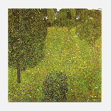 Gustav Klimt Art Deco Tile Coaster - Garden