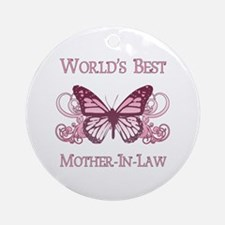 World's Best Mother-In-Law (Butterfly) Ornament (R