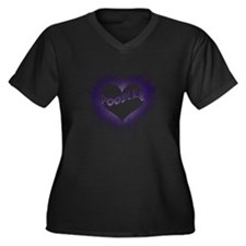 FlamingLove_ Women's Plus Size Dark V-Neck T-Shirt
