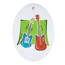 guitar and bass stylized Ornament (Oval)