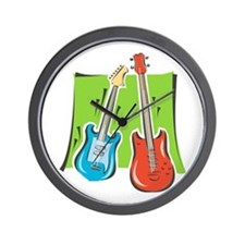 guitar and bass stylized Wall Clock