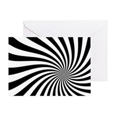 Black White Twist Stripes Greeting Cards