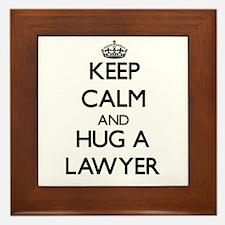 Keep Calm and Hug a Lawyer Framed Tile