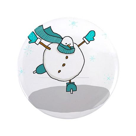 "Stylish Skating Snowman 3.5"" Button"