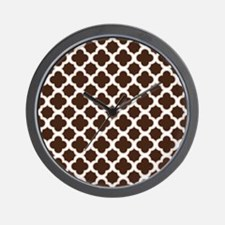 Quatrefoil Pattern Brown and White Wall Clock