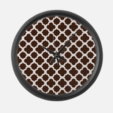 Quatrefoil Pattern Brown and White Large Wall Cloc