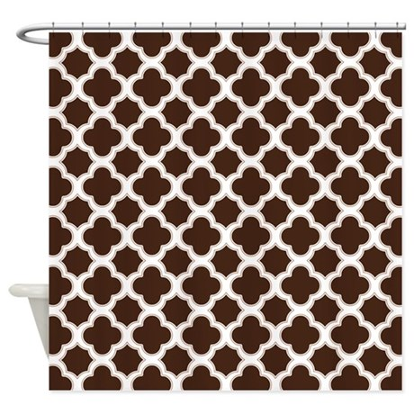 quatrefoil pattern brown and white shower curtain by cutetoboot