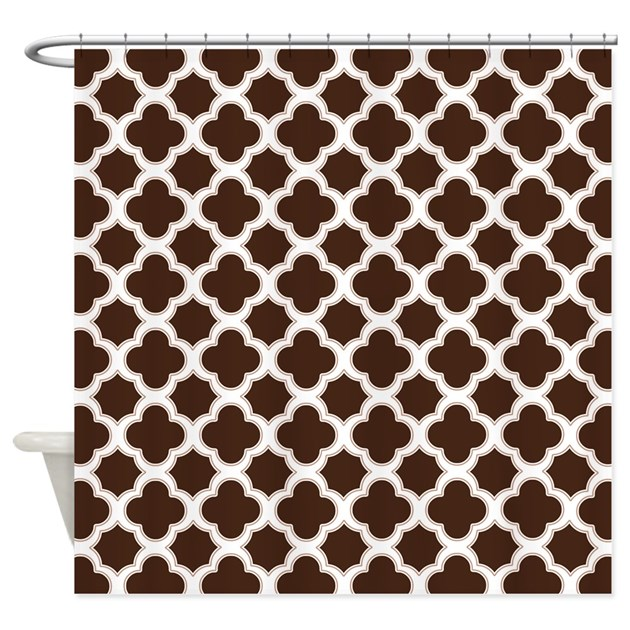Quatrefoil Pattern Brown And White Shower Curtain By