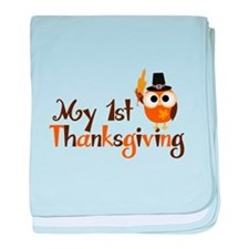 My 1st Thanksgiving Owl baby blanket