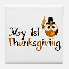 My 1st Thanksgiving Owl Tile Coaster