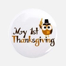 "My 1st Thanksgiving Owl 3.5"" Button (100 pack)"