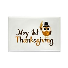 My 1st Thanksgiving Owl Rectangle Magnet (100 pack