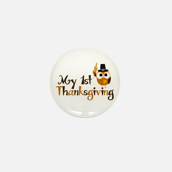 My 1st Thanksgiving Owl Mini Button (10 pack)