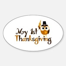 My 1st Thanksgiving Owl Sticker (Oval)