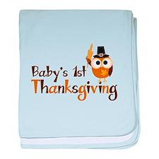 Baby's 1st Thanksgiving Owl baby blanket