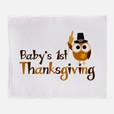Baby's 1st Thanksgiving Owl Throw Blanket