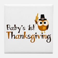 Baby's 1st Thanksgiving Owl Tile Coaster