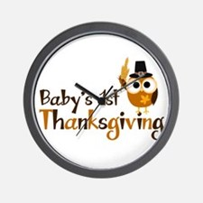 Baby's 1st Thanksgiving Owl Wall Clock