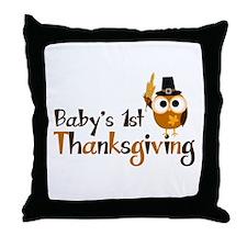 Baby's 1st Thanksgiving Owl Throw Pillow