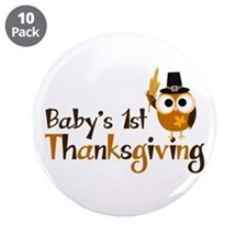 "Baby's 1st Thanksgiving Owl 3.5"" Button (10 pack)"
