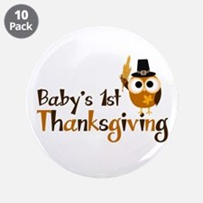 """Baby's 1st Thanksgiving Owl 3.5"""" Button (10 pack)"""