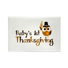 Baby's 1st Thanksgiving Owl Rectangle Magnet (100